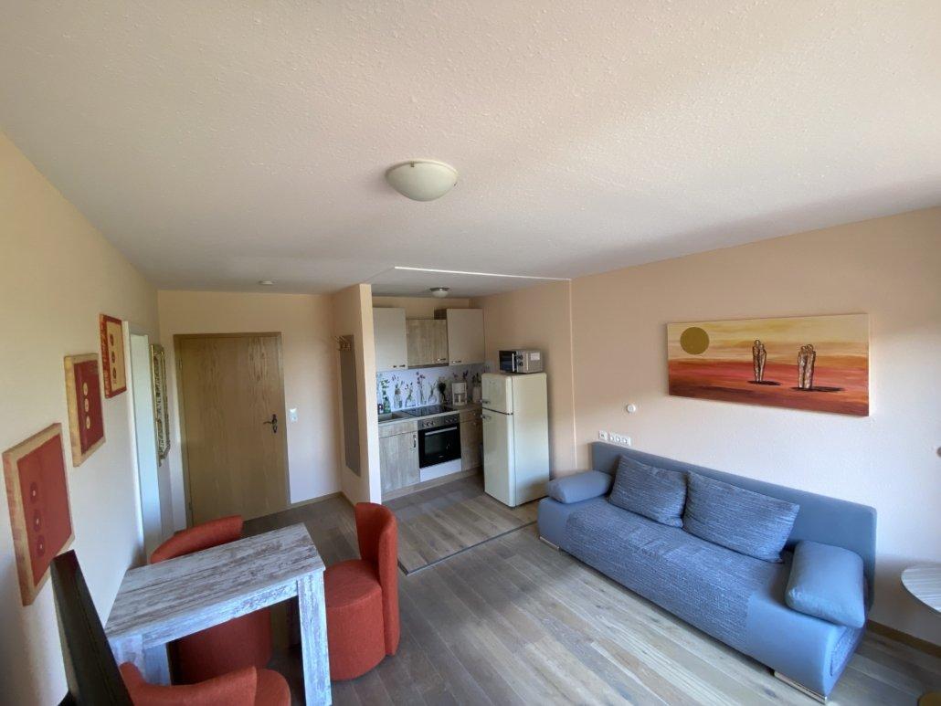 Wohnbereich mit Sofa und eine Einbauküche im Hintergrund